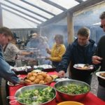 BBQ at 3-mile cabin during Banff Trail Riders Cowboy Cookout