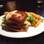 Salmon Burger with Fries from De'd Dog Bar