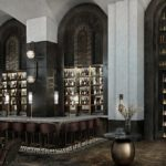 The main bar and bookcase at the Rundle Bar