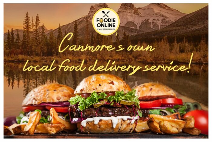 Foodie Online Logo and slogan with burgers